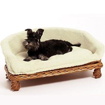 Canapé pour animal domestique Panier en osier Housse en tissu doux Lavable/Choix de 3tailles/Idéal pour les chats ainsi que les chiens