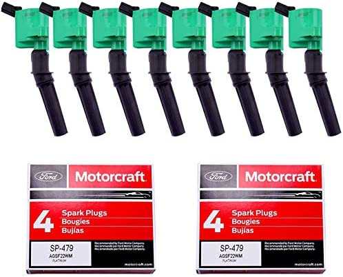 MAS Pack of 8 Ignition Coil DG508 and OEM Spark Plug SP479 Compatible with Ford 4 6L 5 4L V8 product image