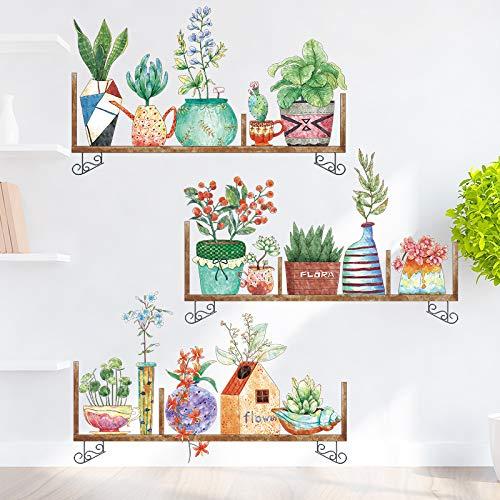 Pegatinas de pared ilustración de acuarela literaria tablilla entrada en maceta pegatinas de vidrio de pared creativas decoraciones de pared autoadhesivas 60X90cm