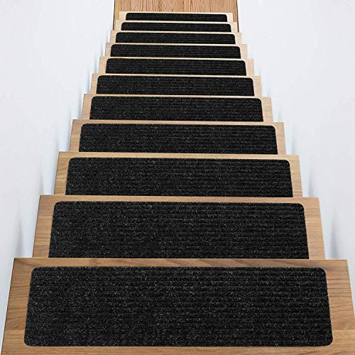 Stair Treads Non-Slip Carpet Indoor Set of 18 Black Carpet Stair Tread Treads Stair Rugs Mats Rubber Backing (30 x 8 inch),(Black, Set of 18)