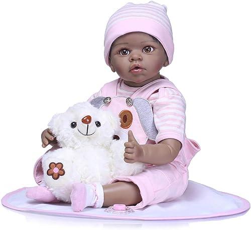 FHSGG 5cm Reborn Baby Dolls sch  dunkle Haut real Life Weiße silikon Vinyl lebensechte Spielzeug Geschenk realistisch,Rosa,5cm