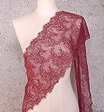 ALE14 Lace Fabric Eyelash Chantilly Floral Bridal/Wedding Dress Flower Table Cloth DIY Crafts Scallop Trim Applique Curtain 300cm x 23cm (Burgundy)