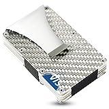 SEMLIMIT Kartenetui Carbon - mit Geldklammer, RFID/NFC Schutz - Geldbörse für bis zu 15 Kreditkarten