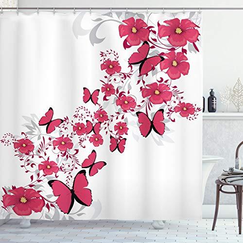 ABAKUHAUS Pink & Weiß Duschvorhang, Blume Schmetterling, Set inkl.12 Haken aus Stoff Wasserdicht Bakterie & Schimmel Abweichent, 175 x 200 cm, Dunkle Korallen hellgraue schwarz