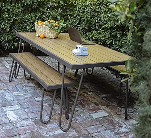 Novogratz 88192CNOE Poolside Paulette Outdoor Table and Bench Set, Charcoal