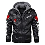Magicos Cyberpunk Leather Jacket, Durable Brown PU Leather Punk Adult Removable Cap Coat Fashion Cyberpunk Cosplay Costume.(2-M)