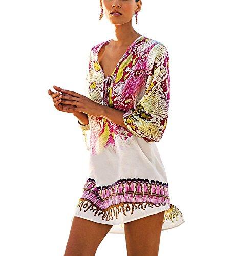 L-Peach Damen Strand-Kleid Bikini Sommerkleid Sommer-Strand-Bikini Modisches Strandkleid One Size Weiß