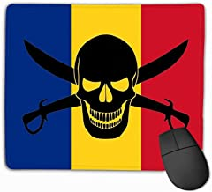 Mouse Pad Pirate Flag Combined Romanian Black Image Jolly Roger Cutlasses Rectangle Rubber Mousepad 11.81 X 9.84 Inch