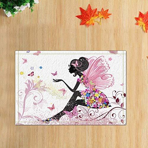 zhangqiuping Papillon Noir Nain Rose Volant Rouge Bleu Jaune Fleur Papillon Salle de Bain Porte antidérapante Plancher antidérapant intérieur, Tapis de Bain Enfant 40X60CM