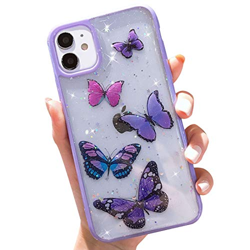 Butterfly Bling Clear Case Compatible with iPhone 11,wzjgzdly Glitter Case for Women Cute Slim Soft Slip Resistant Protective Phone Case Cover for iPhone 11 6.1 inch - Purple