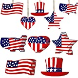 20 Pieces Independence Day Wooden Hanging Ornaments Patriotic Wooden Ornaments 4th of July USA Hat American Flag and Star Ornaments Red White and Blue with Star Flag Hanging Wooden Pendant for Home