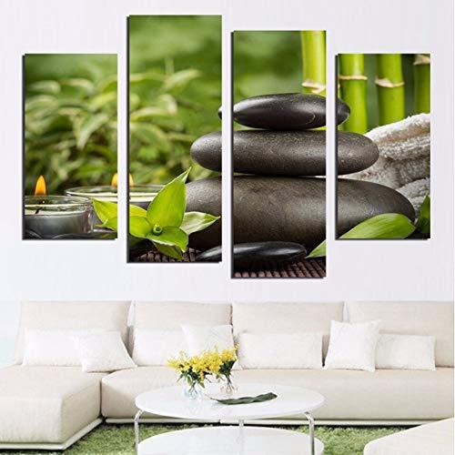 YGKDM woonkamer HD gedrukt schilderij moderne kunst wand 4 panelen kaars bamboe pleister zwart decoratie huis fotolijst 30x60x2 30x80cmx2 Geen frame
