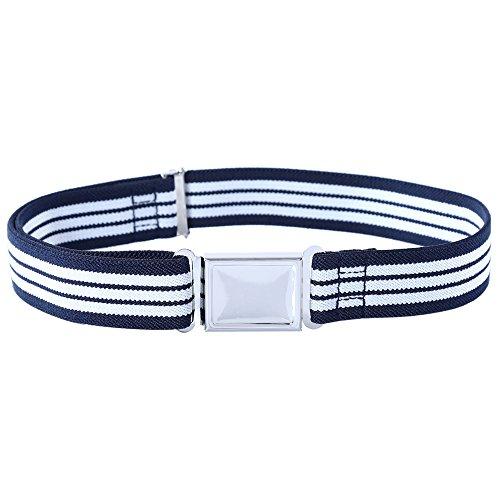 Kajeer Kajeer Gürtel für Jungen Mädchen Verstellbar - Großer Elastischer Stretchgürtel mit einfacher Magnetschnalle für 2-15 jährige Jungen und Mädchen (Marineblaue & Weiße Streifen)