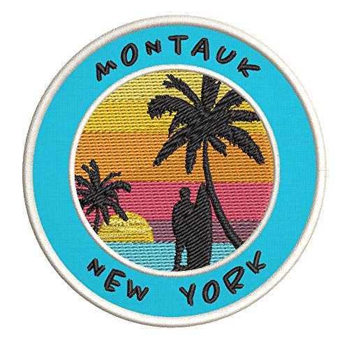 Montauk, New York Surfing Spot Embroidered Premium Patch DIY Iron-on or Sew-on Decorative Badge Emblem Vacation Souvenir Travel Gear Clothes Appliques