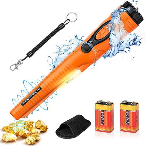 POVO Pinpointer Metalldetektor mit 2 Batterien IP68 Wasserdicht bis 10 Meter Unterwasser Tragbar Metallsuchgerät Schatzsuche Goldmünze Hunt Werkzeug mit Gürtelholster (Orange)