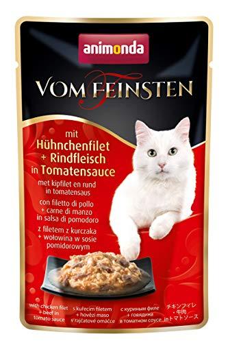 animonda Vom Feinsten Adult cibo per gatti, alimento umido per gatti adulti, in busta salvafreschezza, con filetto di pollo + filetto di manzo in salsa di pomodoro, 18 x 50 g