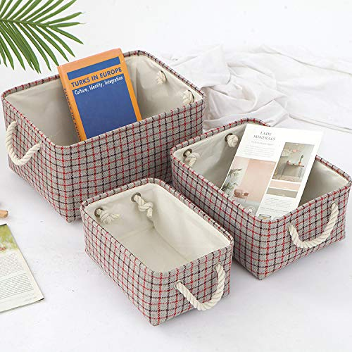 Caja de almacenamiento de tela, canasta de almacenamiento plegable para bebés con asas de cuerda para ropa, estante, armario, juguetes, cajas de almacenamiento de oficina (Red, 31x21x13 cm)
