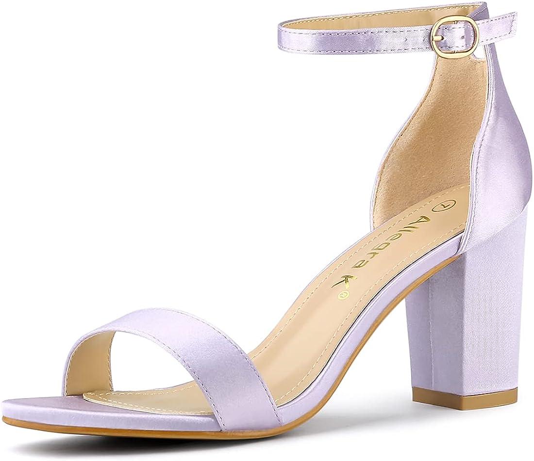 Allegra K Women's Satin Open Toe Ankle Strap Chunky Heels Sandals