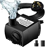 Submersible Water Pump, Senelux 80GPH (300L/H) 4W Fountain Water Pump, Replacement Pump for Pet Fountains, Aquarium, Fish Tank, Pond, Statuary, Hydroponics with 4.7ft Power Cord and 2 Nozzles