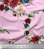 Soimoi Pink Heavy Canvas Stoff Ranunculus & Penoy Floral