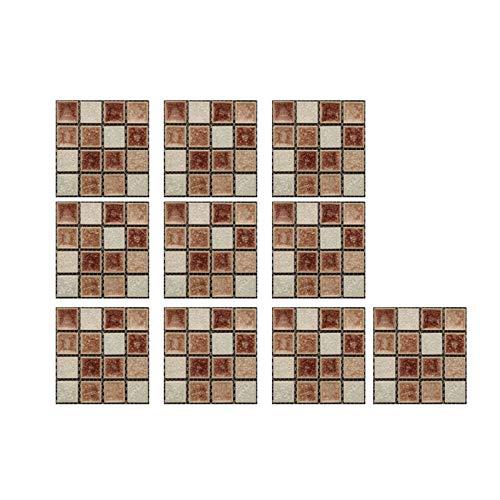 Gaoqi Etiqueta de la Pared, 10pc 3D Crystal Tile Stickers DIY Pegatinas de Pared Autoadhesivas Impermeables