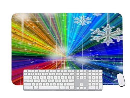 Alfombrilla de ratón para juegos con copos de nieve y estrellas para escritorio y portátil, 1 paquete de 1000 x 500 x 3 mm