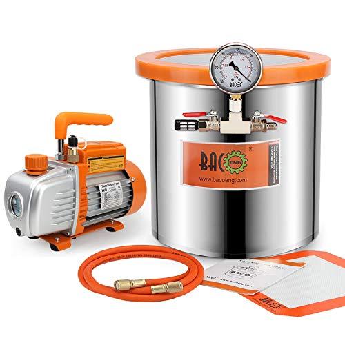 BACOENG Kit Camera a Vuoto Inox da 12 L con Coperchio in Vetro Temperato– Pompa per il Vuoto Monostadio 85 Lt/min
