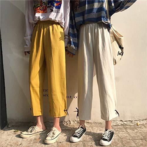 YSDSBM Pantalones Mujeres Verano Suelto Todo-fósforo Pantalón Ancho Pierna Ocio Mujeres Cintura Alta hasta el Tobillo Sólido Damas Elegante Elegante Moda Suave