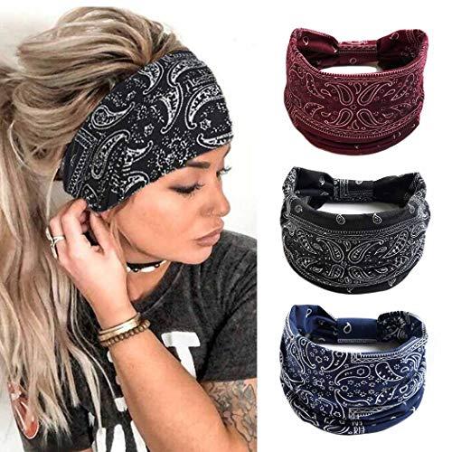 Zoestar Pañuelos anchos boho para la cabeza, con estampado elegante, para yoga, correr, turbante elástico para el pelo para mujeres (paquete de 3) (Black)