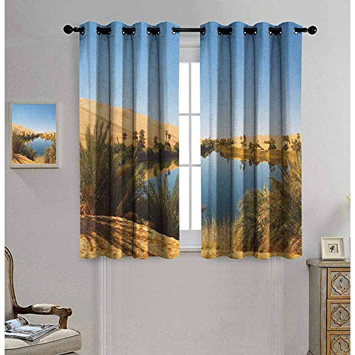 Desert Blackout curtains - gasket insulation Idyllic Oasis Awbari Sand Sea Sahara Libya Pond Lush Arid Country Blackout curtains for the living room W52 x L63 Inch Pale Blue Green Sand Brown