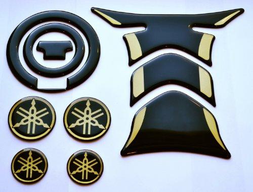 RZ Moto Fit Yamaha YZF R1 R6 FZ1 FZ8 FZ6 FJR1300 Black Glossy + gold Tank Protector Pad & gas cap cover sticker + 4 logo trim