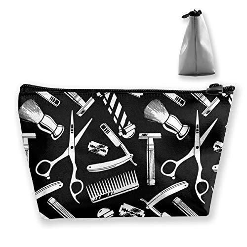 Sac de rangement pour outils de barbier vintage avec motif artistique pour pinceaux de maquillage, produits de toilette