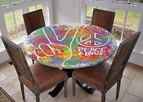Ronde tafelkleed keuken decoratie, tafelblad met elastische randen, heerlijke taart met gouden kleur sterren en partij hoed presenteert speciale dag Multi kleuren, partij tafelkleden