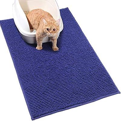 VIVAGLORY Cat Litter Mat 90 × 64cm Large Waterproof & Washable Cat Mat for Litter Box, Super Soft for Cat Paws, Navy Blue