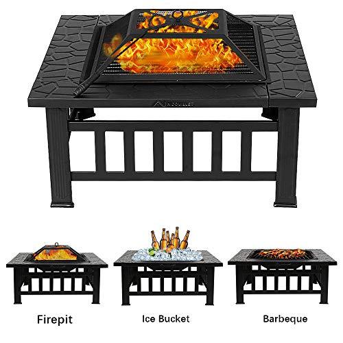 Nidouillet Feuerstelle BBQ Innenhof Terrasse Quadratisch Metall Feuerherd Grill mit wasserdichter Abdeckung für Outdoor, Camping, Picknick, Kochen, Parties AB009