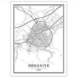 daerduotutu Türkei Schwarz-Weiß-Stadtplan Poster
