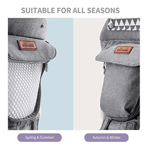 SUNVENO Baby Hipseat Ergonomic Baby Carrier Soft Cotton 6 in 1 Safety Infant Newborn Hip Seat for Home, Outdoor, Travel, 6-36 Months Babies Girls and Boys, Grey