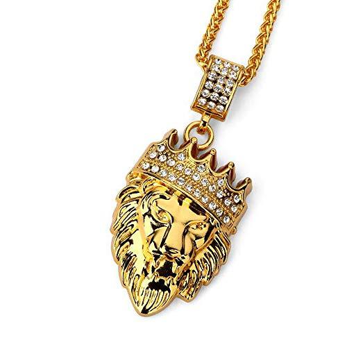 ANLW Corona Cabeza De León Hiphop Hip Hop Collar De Joyería Calidad De La Joyería 18K De Oro Grueso Collar De Los Hombres