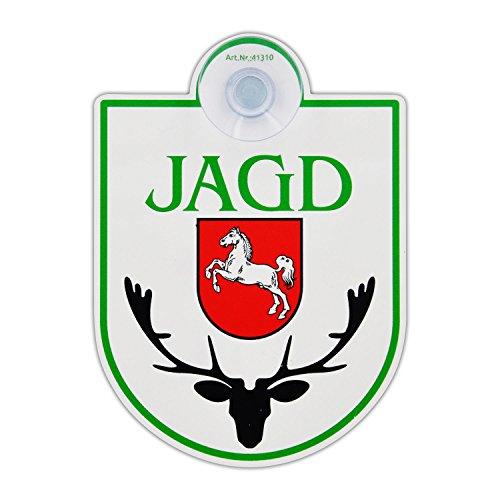 """Saugnapfschild Schild """"Jagd - Niedersachsen"""" Acrylschild 3mm mit Saugnapf 30mm, ca. 90x125 mm für Scheibeninnenbefestigung"""