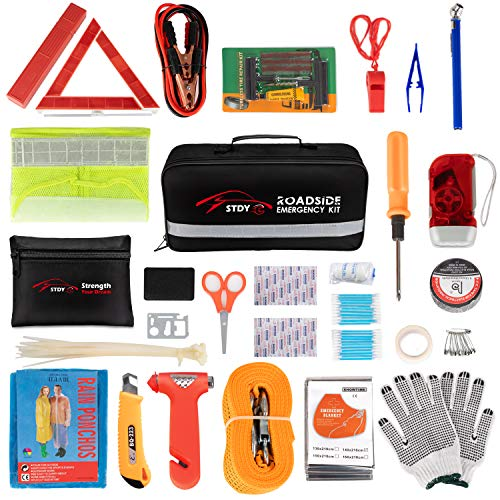Poncho First Aid Kit Gloves Tow Strap Car Emergency Kit with Booster Cables Blanket Justin Case Premium Auto Safety Kit with 365 days of Roadside Assistance Reflective Triangle LED Headlamp