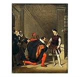 zhangyongjie 《Don Pedro de Toledo besando la Espada de Enrique IV》 Pinturas Impresiones en Lienzo Póster Arte de la Pared para Regalos para Mujeres-60x80cm Sin Marco