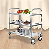 uyoyous Stainless Steel 3 Shelf Utility Service Cart 37.4x19.7x37.4 Inch Kitchen Island Trolley Catering Storage Cart with Locking Wheels for Hotels Restaurant Home Use,330 lb. Capacity