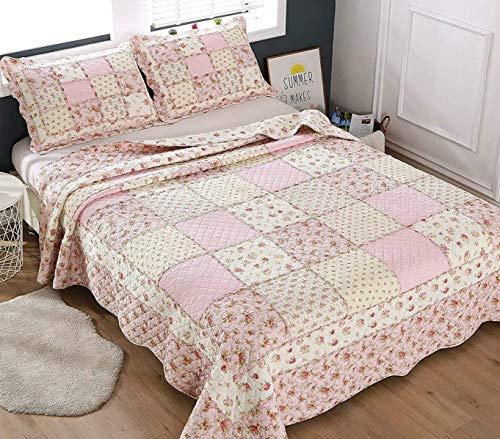 ENCOFT Tagesdecke Baumwolle Bettüberwurf 230x250cm 2 Kissenbezug 50x70cm Sofa Couch Überwurf Decke Gesteppt Steppdecke (230 x 250 cm, Pink)