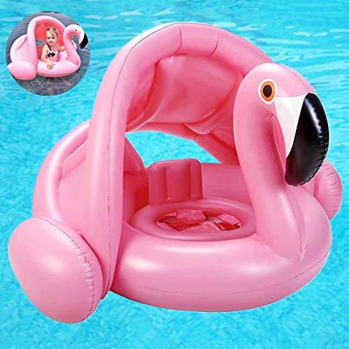 Flamingo Baby Schwimmring mit Sonnenschutz,Baby Schwimmhilfe,Baby schwimmring aufblasbarer,Baby Pool Schwimmring,Aufblasbarer Schwimmreifen für Kinder,Babys,Schwimmring für Kinder ab 6 bis 48 Monaten