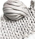 Super Chunky Vegan Yarn, Acrylic Bulky Thick Roving Washable Softee Chunky Yarn for Arm Knitting DIY Handmade Blankets (Grey, 20m)