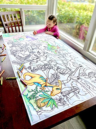Giant 5ft Wall Size Coloring Poster 60' by 30' Huge Scene, Markers, Crayon or Colored Pencil, Quality Family Time, Birthday Party, Crafts, Events, Fun for All Ages (Dinosaurs)