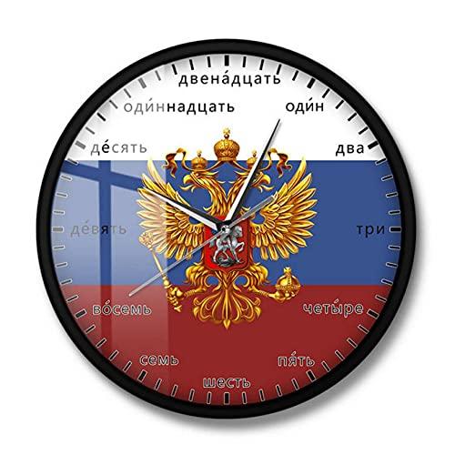 JKLMZYT Vapensköld i Ryssland dubbelhövdad örn patriotisk modern väggkonst klocka ryska språk nummer tyst kvarts väggur - 30 x 30 cm