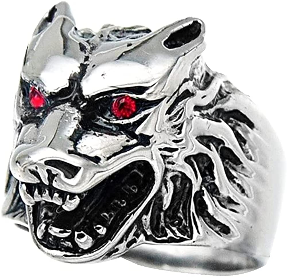 Vintage Fashion Animal Wolf Ring Wizard Warrior Hunter Crystal Wolf Head Rings Norse Viking Cool Ring Punk Hip Pop Design Band Men's Biker Personalized Jewelry for Men Boy