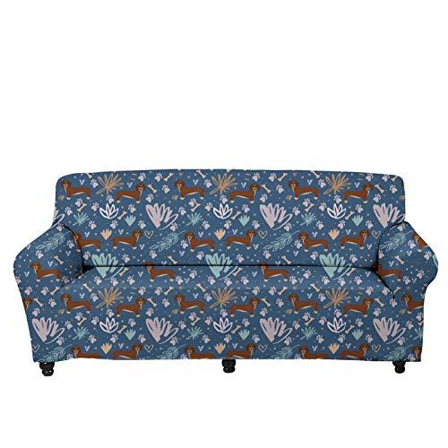 JBNJV Fundas de sofá Vintage para sofá de Dos plazas, Funda de sofá con diseño de Perro Salchicha de Tema Tropical, Protector de Muebles Lavable con Funda de cojín Antideslizante