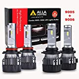ALLA Lighting S-HCR 9005 9006 LED Bulbs Combo 10000Lms Xtremely Super Bright HB3 HB4 Replacement, 6000K ~ 6500K Xenon White (4 Packs, 2 Sets)